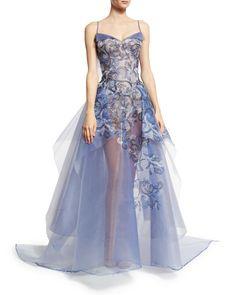 Zac Posen Embroidered Guipure Sleeveless Ball Gown, Multi Garden