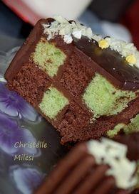 Gâteau Damier pistache et chocolat : Etape 10