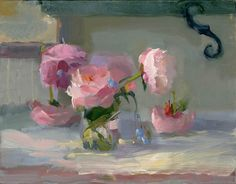 Christine Lafuente, Peonies and Forget Me Nots, oil on linen, 14 x 18 inches Painting Still Life, Still Life Art, Paintings I Love, Flower Paintings, Art Floral, Still Life Flowers, Beauty Art, Art Oil, Flower Art
