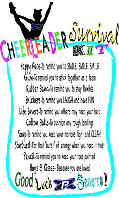 I used this for my daughter's Allstar cheer team. Instead of mini candies we used regular size candy bars! Yum!