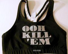 OOH KILL EM Black Silver Cotton Sports Bra by SparkleBowsCheer, $25.00
