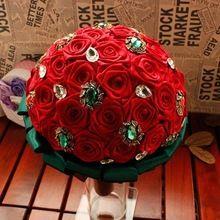 Rosa roja verde de la piedra preciosa boda hecho a mano ramos para novias decoración roja de la boda ramo de novia 744(China (Mainland))