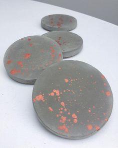 Copper splatter concrete cement coasters