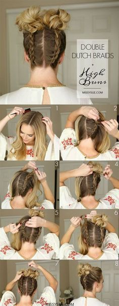 Hairstyle // Double braid buns tutorial. #BunHairstylesDouble