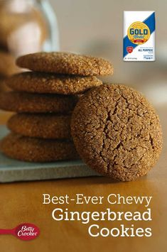 Best-Ever Chewy Gingerbread Cookies Chewy Ginger Cookies, Sugar Cookies Recipe, Cookie Recipes, Almond Cookies, Christmas Appetizers, Christmas Desserts, Christmas Recipes, Christmas Gifts, Chewy Gingerbread Cookies