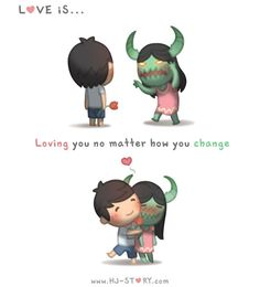 Check out the comic HJ-Story :: Love is. Loving You No Matter How You Change Hj Story, Illustration Mignonne, Love Illustration, Cute Love Stories, Love Story, Cute Couple Comics, Cute Love Cartoons, What Is Love, You Changed