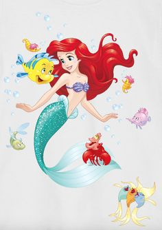 Ariel and Flounder and Sebastian
