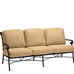 """Seville Cushioned Sofa - Aluminum Patio Furniture by Woodard. $1599.00. Visit our site for Cushion Color and Aluminum Finish options. Aluminum Patio Cushioned Sofa. W75""""xD33.1""""xH32.5"""". Curvy and classic, Seville melds the durability of virgin vinyl straps with a hand wrought powder coated rustproof aluminum frame to create the ideal outdoor furniture. Available in eight impressive aluminum finishes and a brilliant selection of eight colors of strap, all durable and of high qua..."""