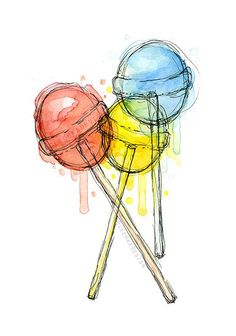 Your place to buy and sell all things handmade Lollipops Watercolor Art Print Candy Sweets Food Illustration Colorful Decor Art And Illustration, Watercolor Illustration, Food Illustrations, Botanical Illustration, Colorful Wall Art, Colorful Paintings, Colorful Decor, Inspiration Art, Art Inspo