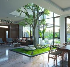 Singaporean Office Garden An award-winning interior garden created by Tierra Design / POD for a building in Singapore's Central Business District. Patio Interior, Interior Design Living Room, Interior And Exterior, Interior Decorating, Tree Interior, Modern Interior, American Interior, Natural Interior, Luxury Homes Interior