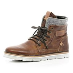 Brown contrast panel chunky sole boots - boots - shoes / boots - men - best mens casual shoes, how to buy mens shoes, mens summer shoes Me Too Shoes, Men's Shoes, Shoe Boots, Dress Shoes, Golf Shoes, Buy Shoes, Nike Shoes, Ankle Boots, Old School Style