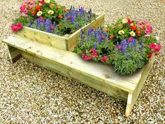 Raised Flower Beds - Raised Timber Gardens For Growing Flowers Raised Flower Beds, Raised Garden Beds, Raised Beds, Growing Flowers, Garden Spaces, Garden Planters, Flower Pots, Garden Design, Bench Seat