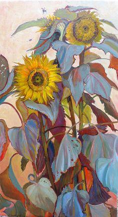"huariqueje: ""Sunflowers - Philippa Jacobs British, b ? Oil on canvas, 36 x 20 cm. Painting Inspiration, Art Inspo, Sunflower Art, Sunflower Paintings, Paintings I Love, Horse Paintings, Pastel Paintings, Botanical Art, Love Art"