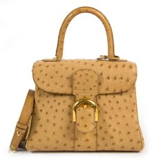 8bf3ecb8fe93 Labellov Delvaux Brillant PM Ostrich Sahara Bag ○ Buy and Sell Authentic  Luxury