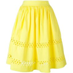 Alice+Olivia Cut-Out Midi Skirt ($431) ❤ liked on Polyvore featuring skirts, alice olivia skirt, midi skirt, calf length skirts, cut out skirt and yellow midi skirt