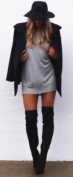 fall style. black over the knee boots. grey mini dress. short coat + hat.