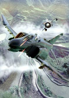 F-4 Phantom dogfighting with a MiG-21. Closeup Illustration by Dave Seeley