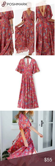 BohoGypsy Festival Red Peacock Bird Maxi Dress Beautiful floral bobo maxi dress with Topen back MayMay's Boutique Dresses Maxi