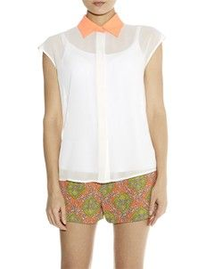 Linette Contrast Collar Blouse - Neon Coral Contrast Collar, Collar Blouse, Coral, Spring Summer, Rompers, Neon, Dresses, Fashion, Vestidos