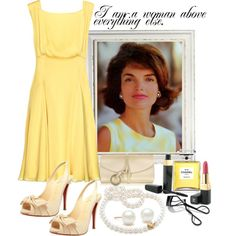 Classy and timeless Jackie O look. I love the yellow. and the dress. I like her hair too. windswept, lush, smooth and beautiful.