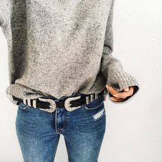 Knit, Belt & Denim - Basic outfit from xmyde