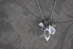 Gemstone Cluster Necklace, Crystal Quartz, Purple Amethyst, Labradorite, Rose Quartz, Moonstone,  Sterling Silver, 20 Inch, Wire Wrappped by DezineStudio on Etsy