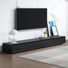 Modern Inch Black TV Stand Rectangle Media Stand Wood TV Console with 3 Drawers - TV Stands - Living Room Furniture - Furniture Tv Console Design, Tv Console Modern, Tv Cabinet Design, Black Tv Console, Low Tv Stand, Black Tv Stand, Low Profile Tv Stand, Simple Tv Stand, Cool Tv Stands
