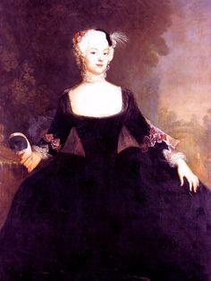 Wilhelmine of Prussia,Margravine of Brandenburg-Bayeruth by Antoine Pesne, ca 1740. Gorgeous deep purple dress.