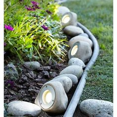 Natural and unobtrusive, this LED landscape light kit adds a great touch to your garden and is made to look and feel like real garden rocks.