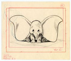 Exhibition: All the art of Disney, one of the first sketches of Dumbo Disney Kunst, Arte Disney, Disney Art, Dumbo Disney, Disney Drawings, Cute Drawings, Drawing Sketches, Drawing Ideas, Sketching