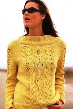 Желтый пуловер с косичками