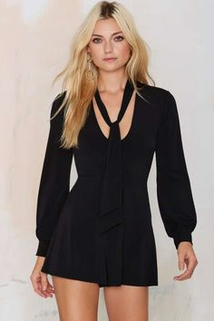 Nasty Gal Midnight Hour Pussy Bow Romper