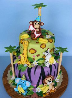 Bananas for Monkey's first Bday! by bubolinkata, via Flickr - This site has hundreds of beautiful images - cakes, cookies and flowers.