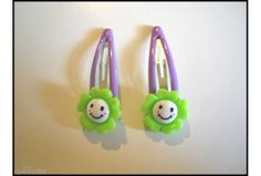 Smiley Flower Girls Green Hair Clip Set(48mm Clip)