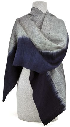 Elegance from top to bottom Silver and #indigo bands merge softly in this elegant #naturallydyed #silkscarf. ||ClothRoads $90