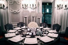 Black linens Crystal Centerpieces. Second choice.