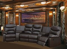 Trezzo Theater Seating – 5 Piece Home Theater Seating in Chocolate Leather By Theatre Delux – 50110 - Media Room Best Home Theater, Home Theater Setup, Home Theater Speakers, Home Theater Rooms, Home Theater Seating, Home Theater Design, Home Theater Projectors, Movie Theater, Theater Seats