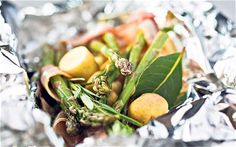 New potatoes with asparagus, pancetta, rosemary and bay