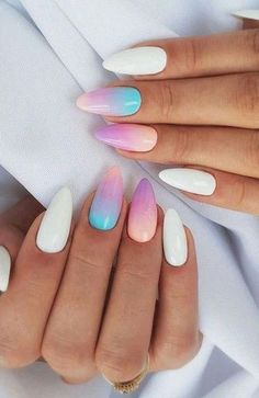61 Most Stunning Summer Long and Short Almond Nails Ideas - Diaror Diary - Page 10 ♥ 𝕴𝖋 𝖀 𝕷𝖎𝖐𝖊, 𝕱𝖔𝖑𝖑𝖔𝖜 𝖀𝖘!♥ ♥ ღ Hope you like this Stunning almond acrylic nails design collection! ღ 𝓖𝓸𝓻𝓰𝓮𝓸𝓾𝓼 Cute Summer Nail Designs, Cute Summer Nails, Short Nail Designs, Nail Designs Spring, Cute Nails, Almond Nails Designs Summer, Summer Acrylic Nails Designs, Summer Gel Nails, Gel Nail Designs