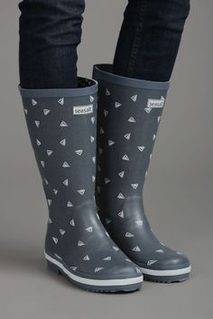 Seasalt Tall Printed Wellies (Yacht Dot Chambray) Q2-R36-432 *Official Stockist* Slip On Shoes, Chambray, Rubber Rain Boots, Calves, Girly, Flats, Best Deals, Prints, How To Wear