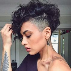 The best collection of Great Curly Pixie Hair, Pixie cuts, Latest and short curly pixie haircuts, Curly pixie cuts pixie hair Curly Pixie Haircuts, Curly Pixie Cuts, Short Hair Undercut, Bob Hairstyles, Curly Short, Shaved Side Hairstyles, Undercut Women, Pixie Mohawk, Side Undercut