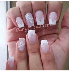 Bridal Nails Designs, Manicure Nail Designs, Pink Nail Designs, Nail Manicure, French Tip Nail Designs, French Nail Art, French Tip Nails, Glitter Accent Nails, Lace Nails