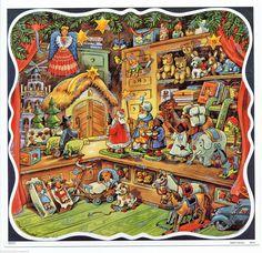Adventskalender Bunter Spielzeugladen mit Silberglimmer Kurt Brandes Reprint | eBay