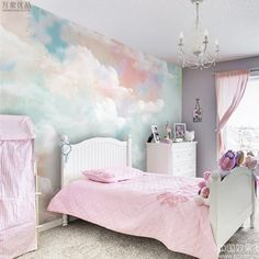Hand Painted Colorful Clouds Nursery Garden Wallpaper Wall Mural, Abstract Colorful Clouds Bedroom L Dinning Room Wallpaper, Wallpaper Wall, Photo Wallpaper, Wallpaper For Girls Bedroom, Dandelion Wallpaper, Colorful Wallpaper, Cloud Bedroom, Colorful Clouds, White Clouds