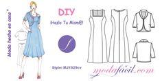 Descarga gratis el Patrón del Vestido con Chaqueta Torera disponible en 14 tallas trazadas individuales incluye Tallas PETITE hasta las Tallas EXTRAGRANDES