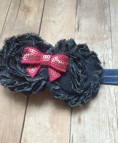 Denim shabby flower elastic headband by BeeLovelyShop on Etsy