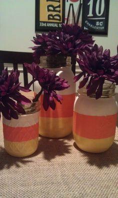Candy corn mason jars for Halloween!