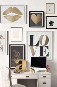 Bedroom Black And White Gold Accent Walls 27 Ideas For 2019 Bedroom Black And White Gold Accent Wall Gold Room Decor, White Bedroom Decor, Gold Rooms, Bedroom Inspo, Teen Wall Decor, Girls Room Wall Decor, Design Bedroom, Bedroom Colors, Black White And Gold Bedroom