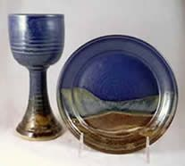 Pottery Chalice and Paten set
