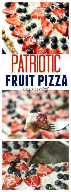 Patriotic Fruit Pizza dessert recipe from @sixsistersstuff